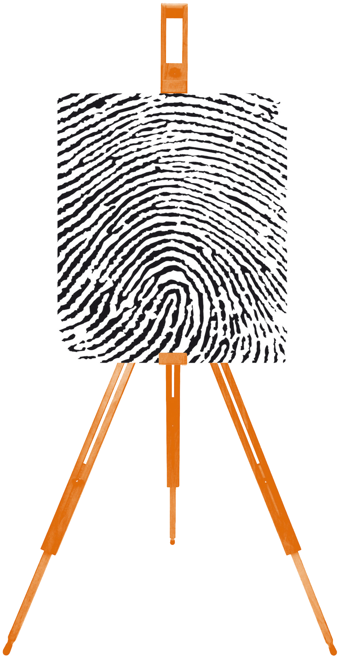 The Living Paintings logo of a large fingerprint printed on canvas and resting on an easel
