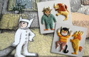 Tactile pictures from Where the Wild Things Are, showing the wild things and Max.