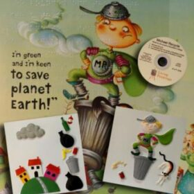 A collage of elements from the book Micheal Recycle including a CD, tactile pictures and an illustration from the book showing a boy dressed in a superhero outfit.