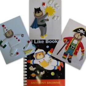 I Like Books, a tactile, braille and audio book dispaly of the pictures showing a little chimp dressed up as a pirate, superhero and clown.
