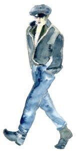 Marlon Brando illustration wearing leather jacket, cap and jeans.