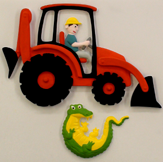 An orange digger with a driver in yellow hat and a crocodile below.