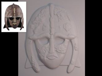 Tactile picture of Sutton Hoo mask, along with a small photo of the actual object.