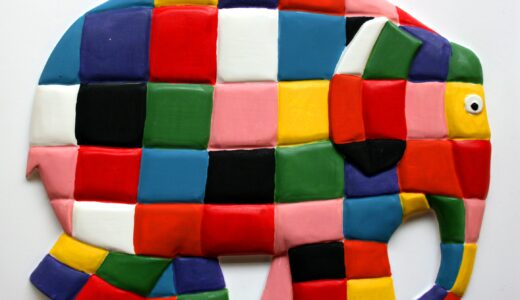 Elmer tactile picture of a colourful patchwork elephant.