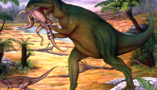 Allosaurus on two legs, eating a smaller creature in a sandy landscape with palm trees.