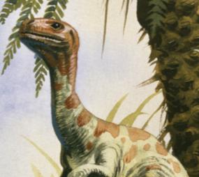 Ornitholestes reaching high into the treetops to feed.