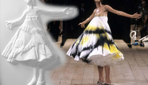 Alexander McQueen spraygun dress, model wearing it on catwalk and the tactile picture depicting alongside.