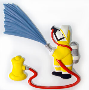 A mouse dressed as fireman holding a large hosepipe.