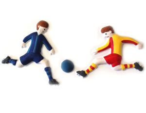 Tactile picture of two boys playing football.