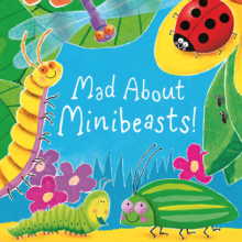 Mad about Minibeasts book cover showing a ladybird, green bug, caterpillar and other garden insects.