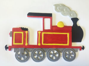 Little steam red train, tactile picture.