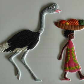 Tactile picture of an ostrich and Handa from Living Paintings' Handa's Surprise