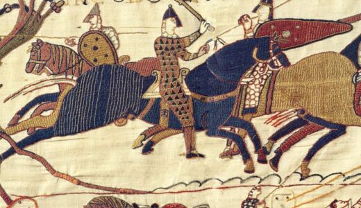 Bayeux Tapestry scene showing men on horseback.