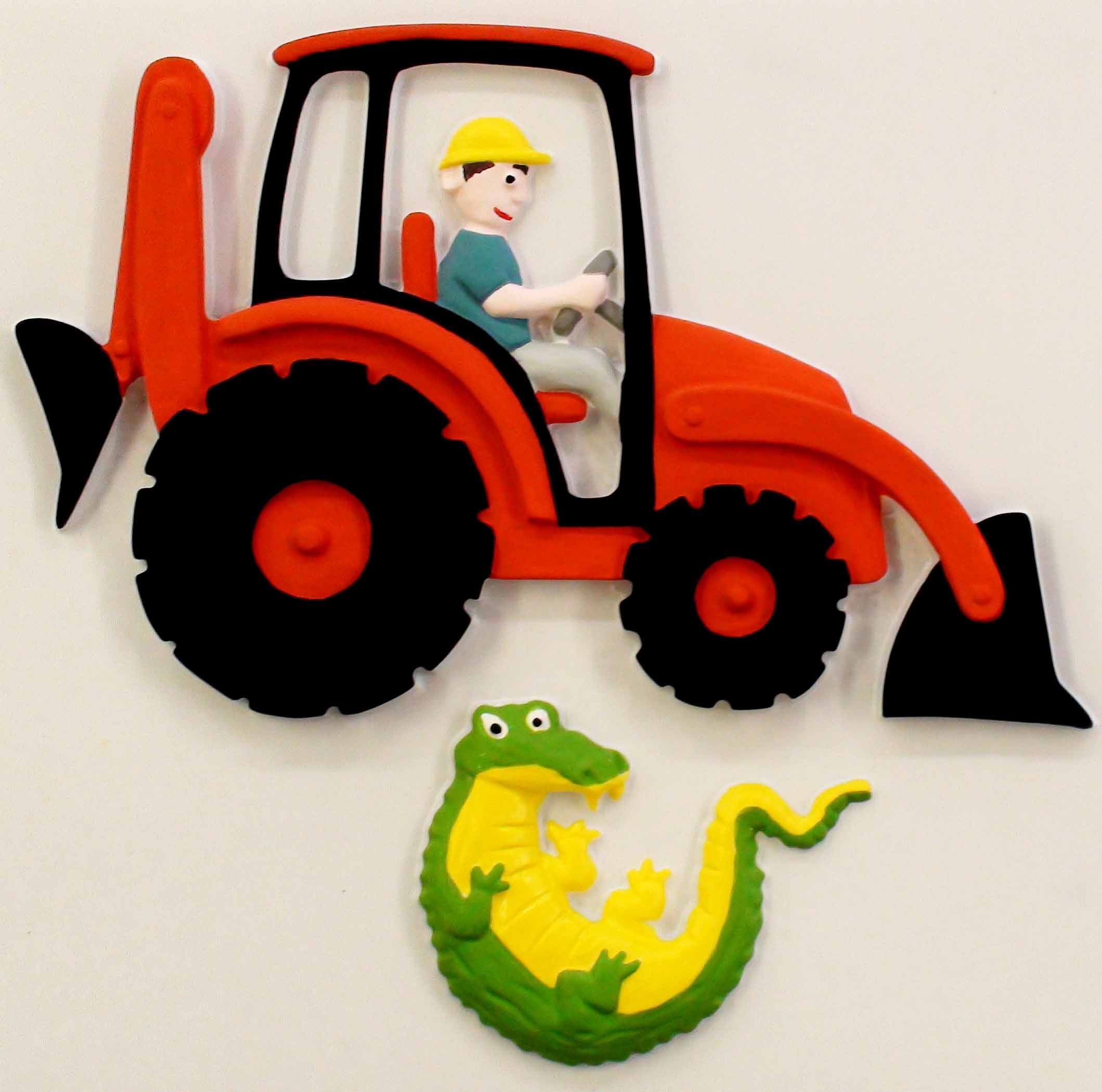 Feely picutre of a digger with a crocodile below.
