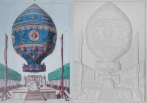 Montgolfier Balloon tactile picture and colour illustration showing the balloon lifting off in a grand garden landscape.