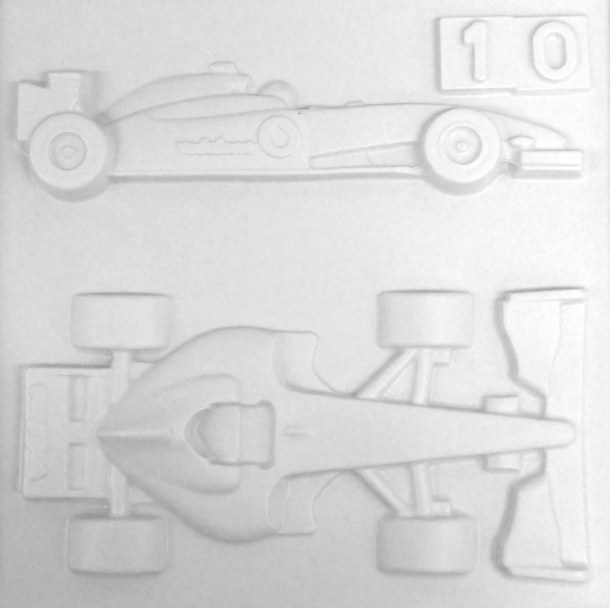 Formula racing car, from top and side on the tactile picutre.