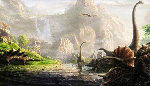 An artists impression of a dinosaur landscape with mountains, river and green plants and trees.