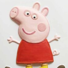 A hand-painted tactile picture of Peppa Pig with her arms outstretched.