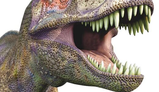 T-Rex with his mouth open wide showing sharp pointy teeth