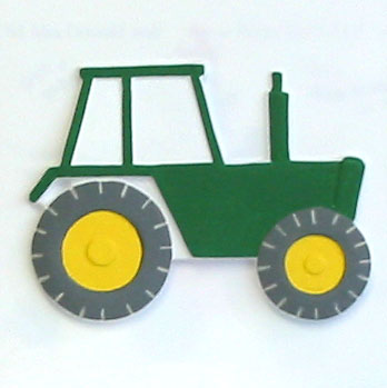 Tactile picture showing a green tractor with yellow wheels.