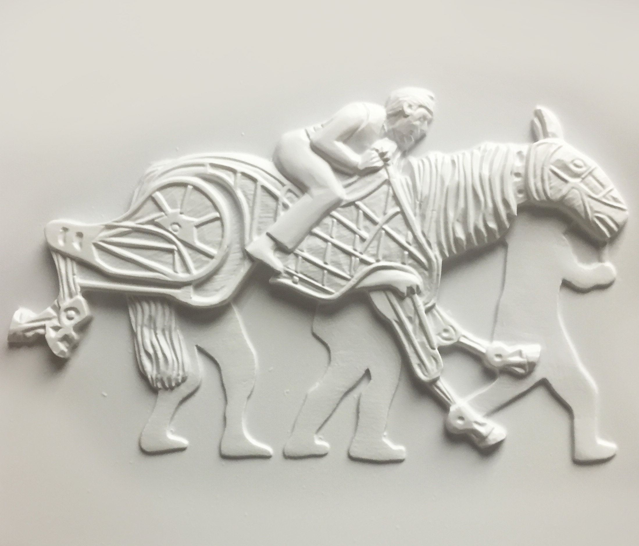 War Horse tactile image, showing galloping horse puppet.