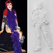 Ziggy Stardust, David Bowie tactile image showing a all in one stage outfit and scarf.