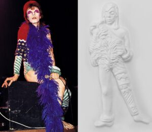 Ziggy Stardust David Bowie tactile image and photo in costume.