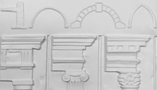 Brilliant buildings tactile picture showing column styles and architectural features.