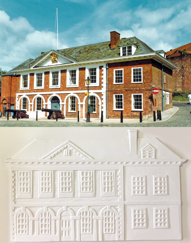 a photo of The Custom House building with the tactile image below.