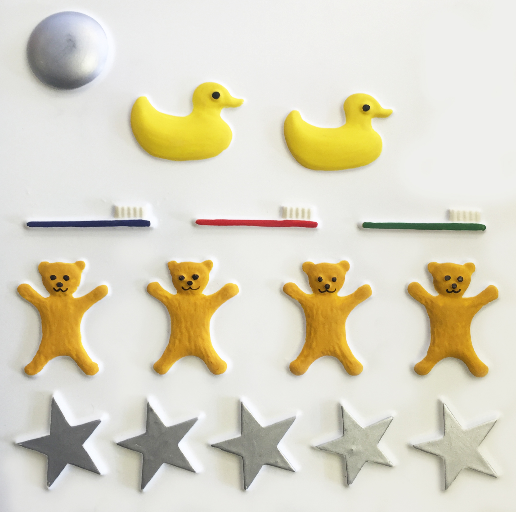Bedtime counting tactile picture, moon, ducks, toothbrushes, teddy bears, stars.