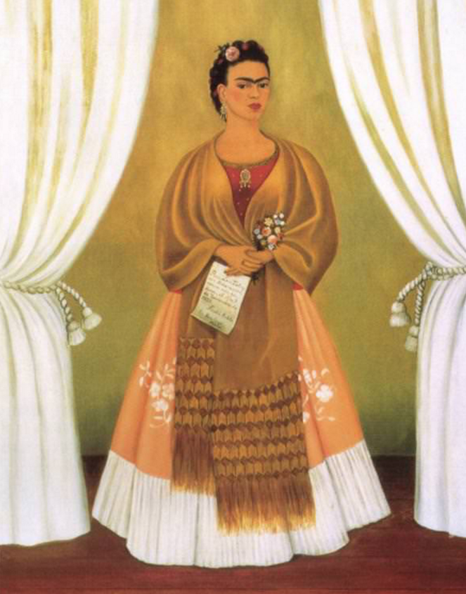 Self Portrait dedicated to Leon Trotsky, Frida Kahlo, 1937, a full length self portrait of the artist wearing a red and peach dress and gold shawl and holding a spray of flowers and a letter.