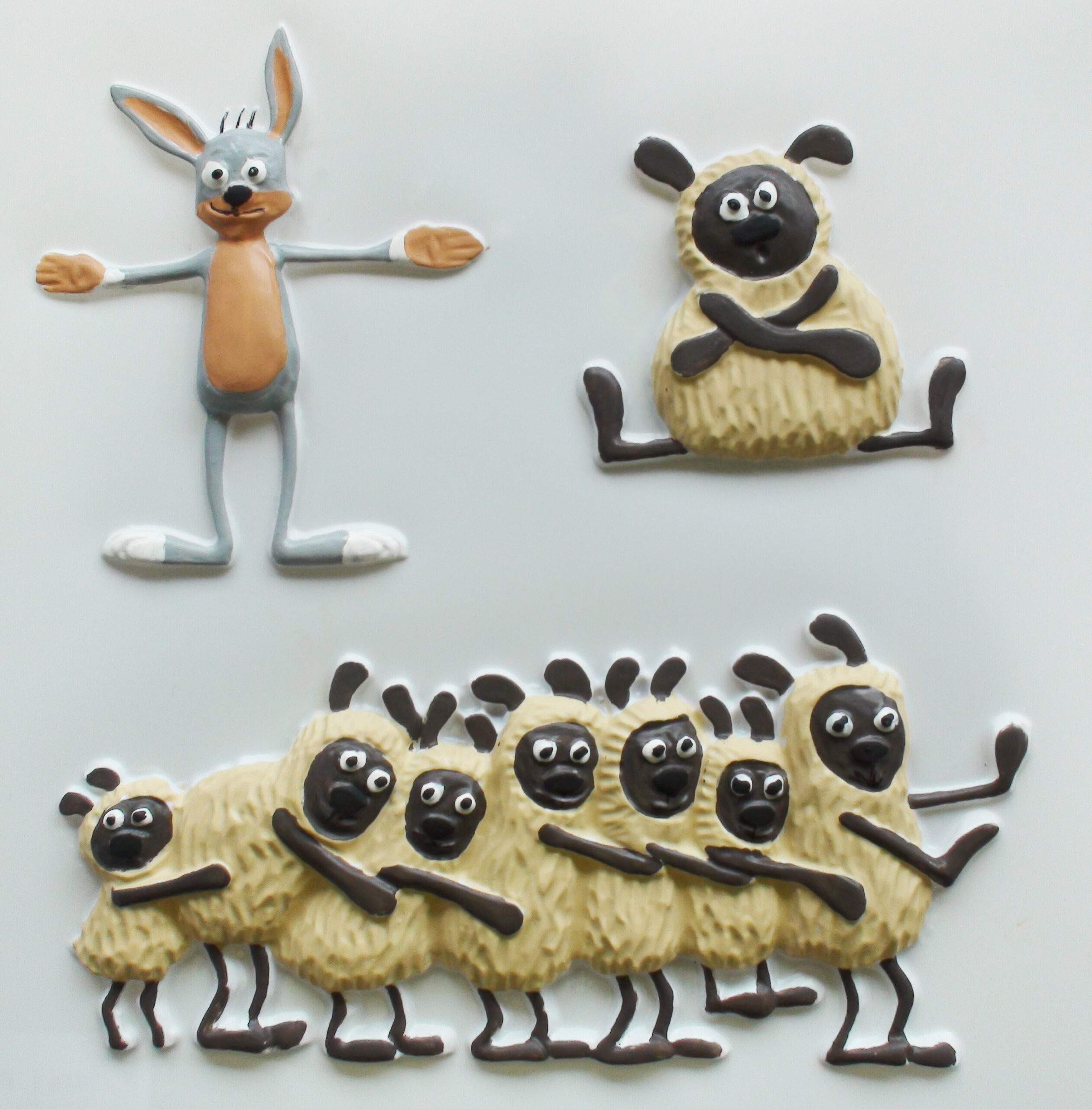 A bunny with open arms and sheep lined up one after the other, all on two legs.
