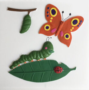 A colourful feely picture of a caterpillar munching a leaf, butterfly and chrysalis.