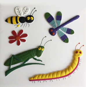 A painted feely picture of a bee, dragonfly, cricket and centipede.