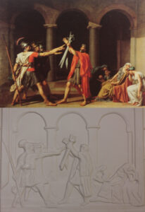 The Oath of the Horatii by Jacques-Louis David, showing men with swords raised.