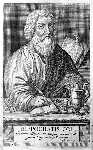 Portrait of Hippocrates from Linden, Magni Hippocratis, 1665 showing a man writing at a desk.