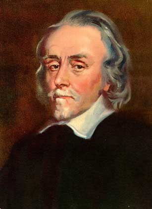 Portrait of William Harvey, a man with grey hair, chin beard and mustache, with a large white shirt collar over a black coat.