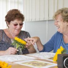 Two women enjoying feeling a sunflower.
