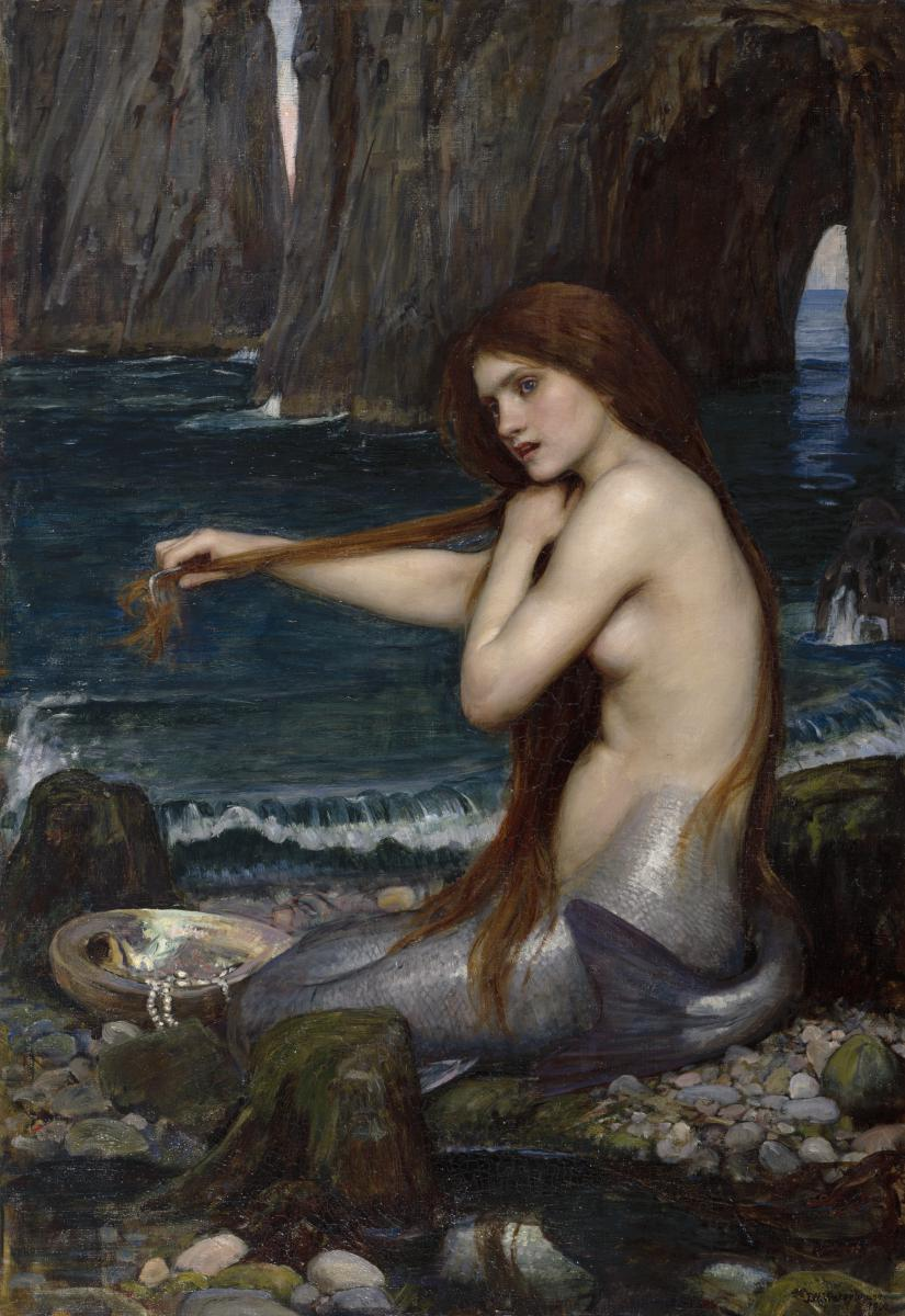 A Mermaid by J W Waterhouse, an oil painting showing a mermaid sitting on a rock and tending her locks.