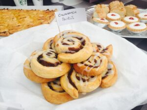 A plate of homemade cinnamon buns