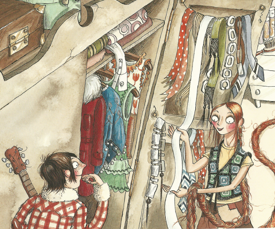 An illustration showing Rapunzel looking through her 1970s wardrobe of clothes.