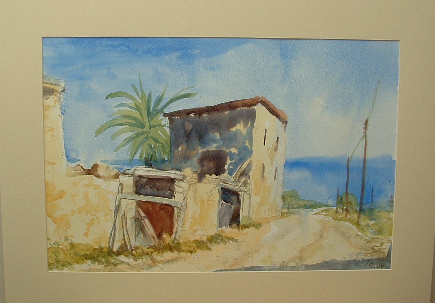 Mediterranean buildings by the sea painting by Ian Reynolds