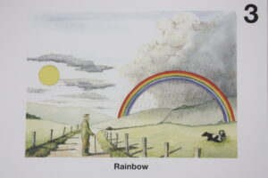 Rainbow illustration set in a countryside scene, from Fantastic Light.