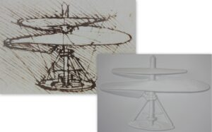 Science in Art tactile image showing Leonardo's helicopter sketch and the tactile image explanation of it.