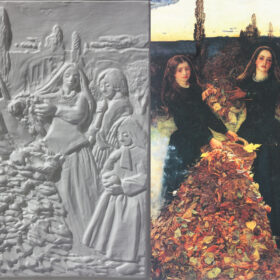 A tactile image of Millais' Autumn Leaves next to a copy of the painting on the right showing 4 young girls around a tall pile of leaves.