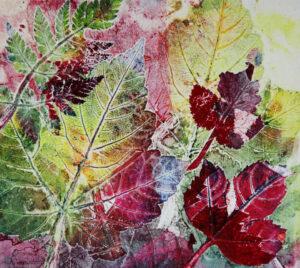 Colourful leaf prints