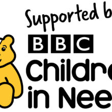 The Children in Need logo featuring Pudsey Bear