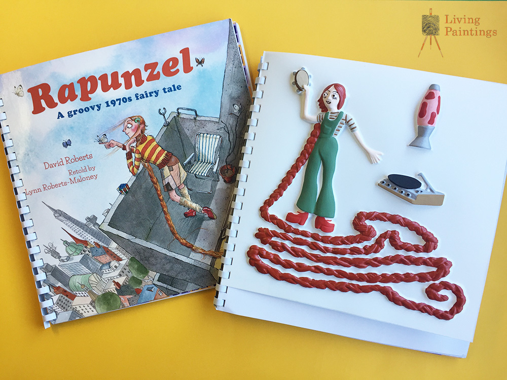 Rapunzel front cover and tactile picture, showing her with very long hair.