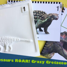 Promotional shot of Crazy Cretaceous featuring a T Rex dinosaur.