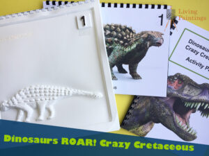 Promotional shot of Crazy Cretaceous featuring tacteilpicutre of a dinosaur and the Image Pack